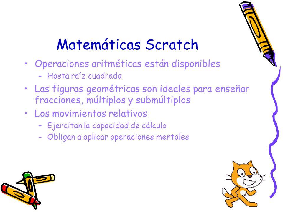 Matemáticas Scratch Operaciones aritméticas están disponibles