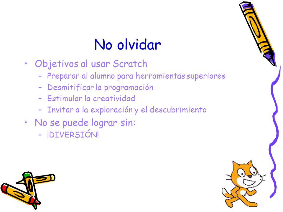 No olvidar Objetivos al usar Scratch No se puede lograr sin: