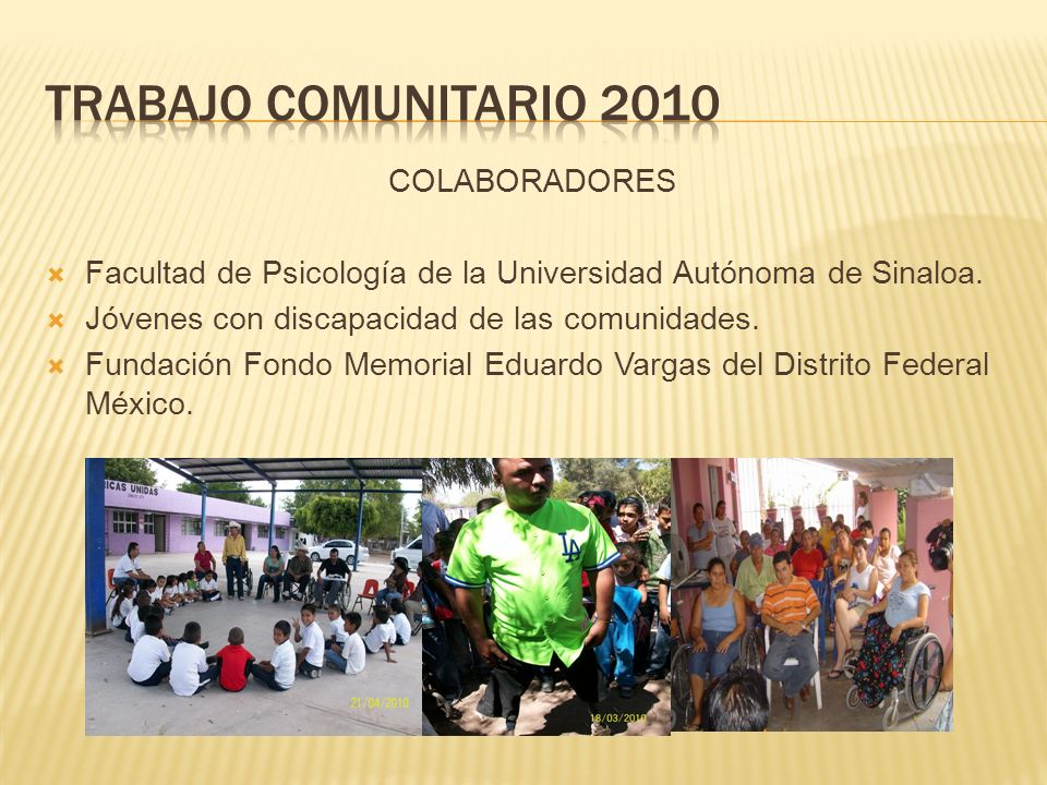 Trabajo comunitario 2010 COLABORADORES