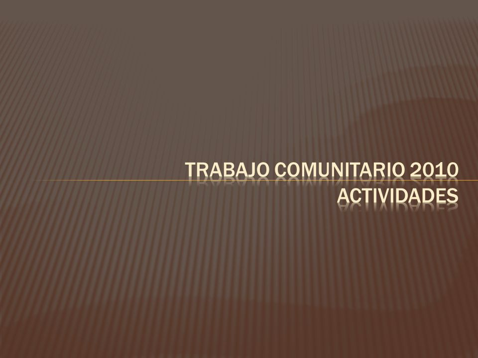 Trabajo comunitario 2010 actividades