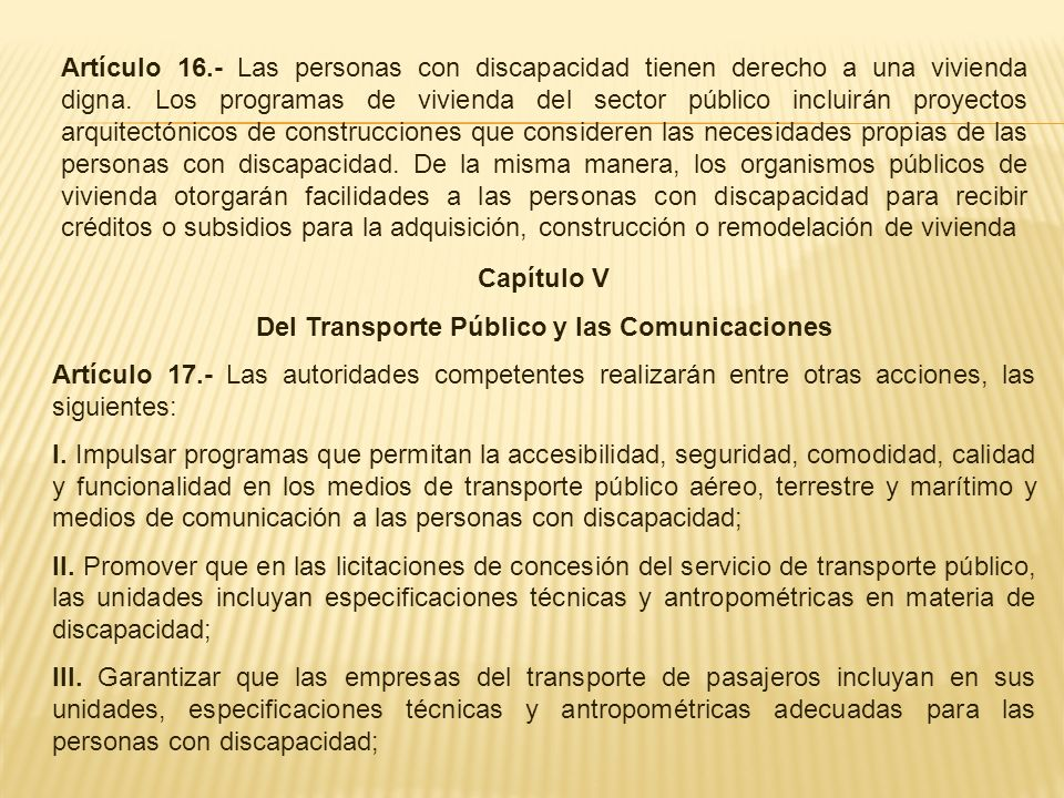 Del Transporte Público y las Comunicaciones