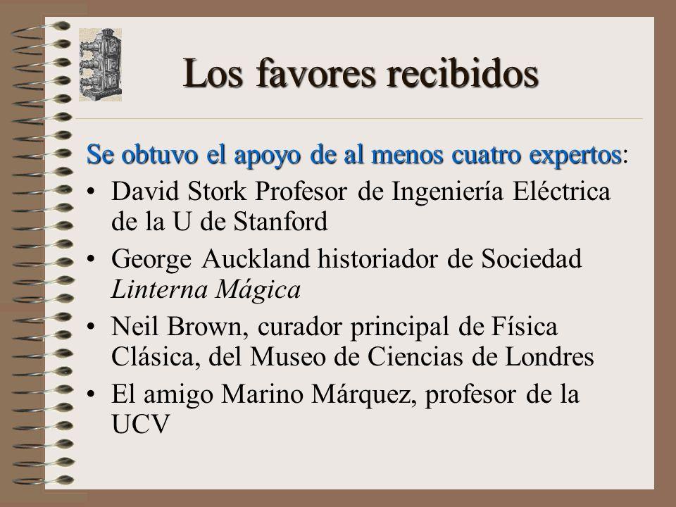 Los favores recibidos Se obtuvo el apoyo de al menos cuatro expertos: