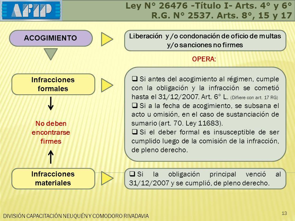 Ley N° 26476 -Título I- Arts. 4° y 6° R.G. N° 2537. Arts. 8°, 15 y 17