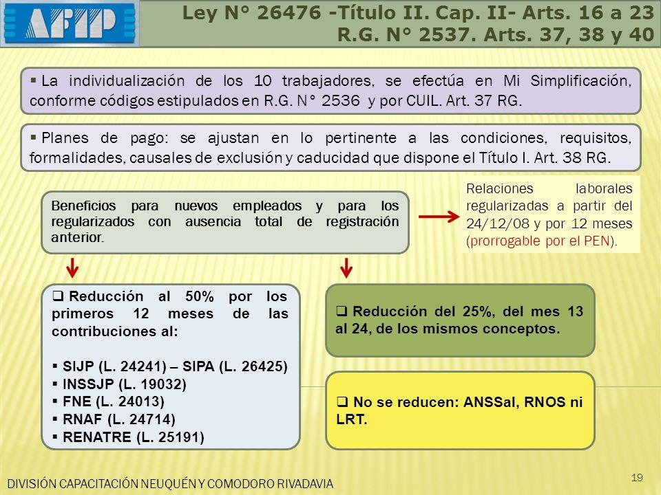 Ley N° 26476 -Título II. Cap. II- Arts. 16 a 23