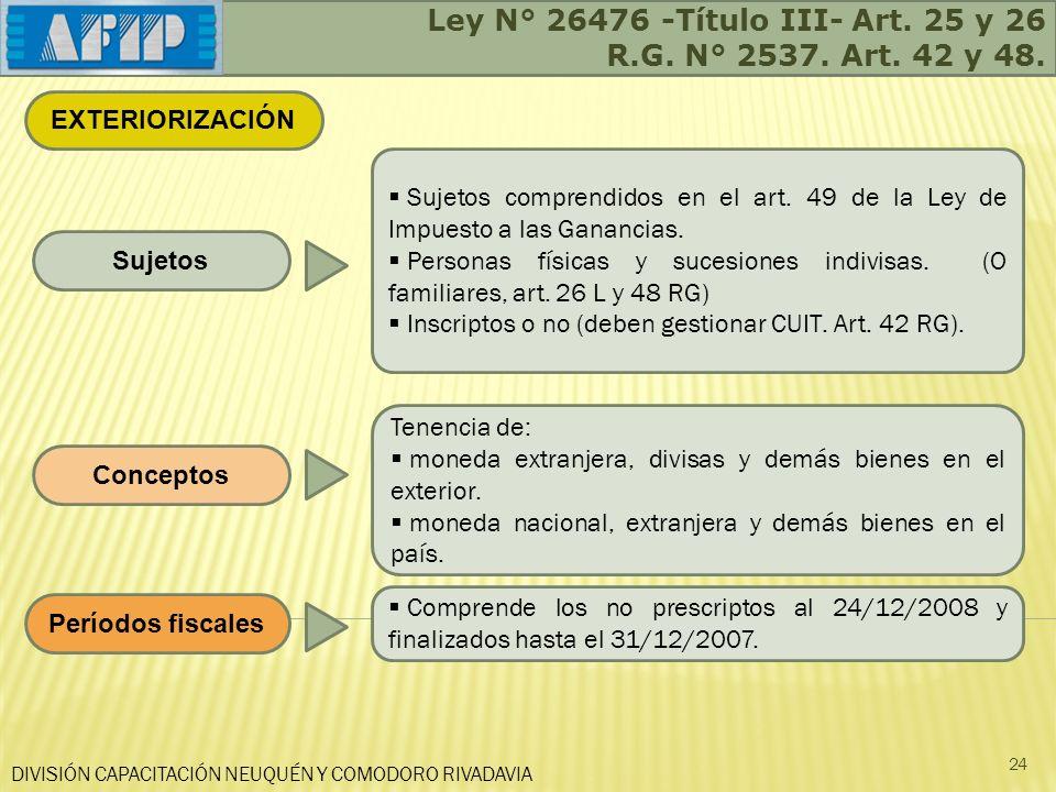 Ley N° 26476 -Título III- Art. 25 y 26 R.G. N° 2537. Art. 42 y 48.