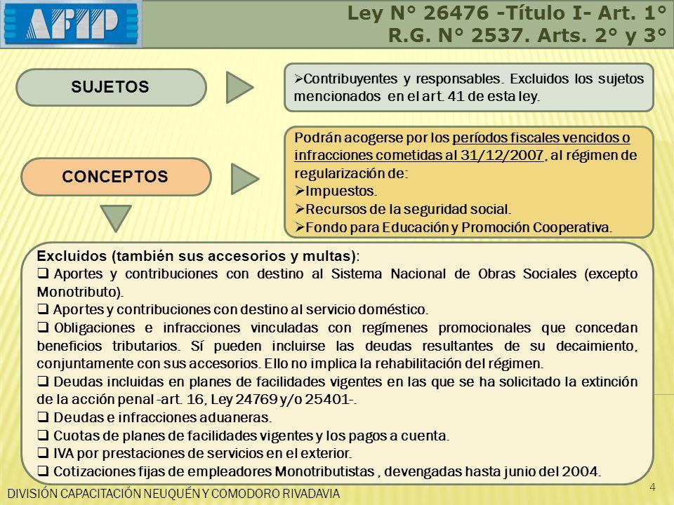 Ley N° 26476 -Título I- Art. 1° R.G. N° 2537. Arts. 2° y 3° SUJETOS