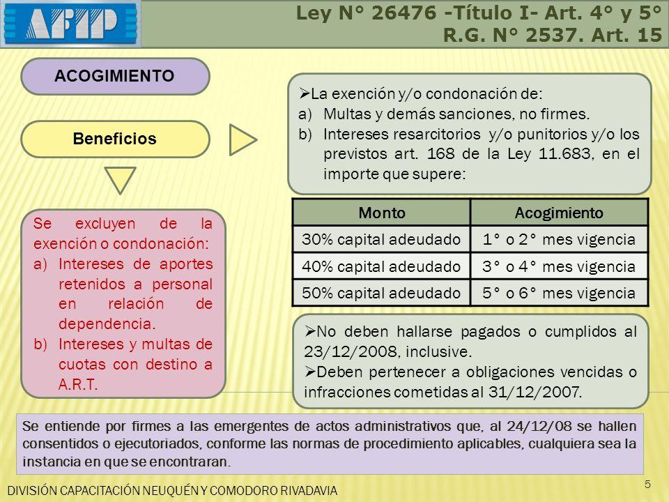 Ley N° 26476 -Título I- Art. 4° y 5° R.G. N° 2537. Art. 15
