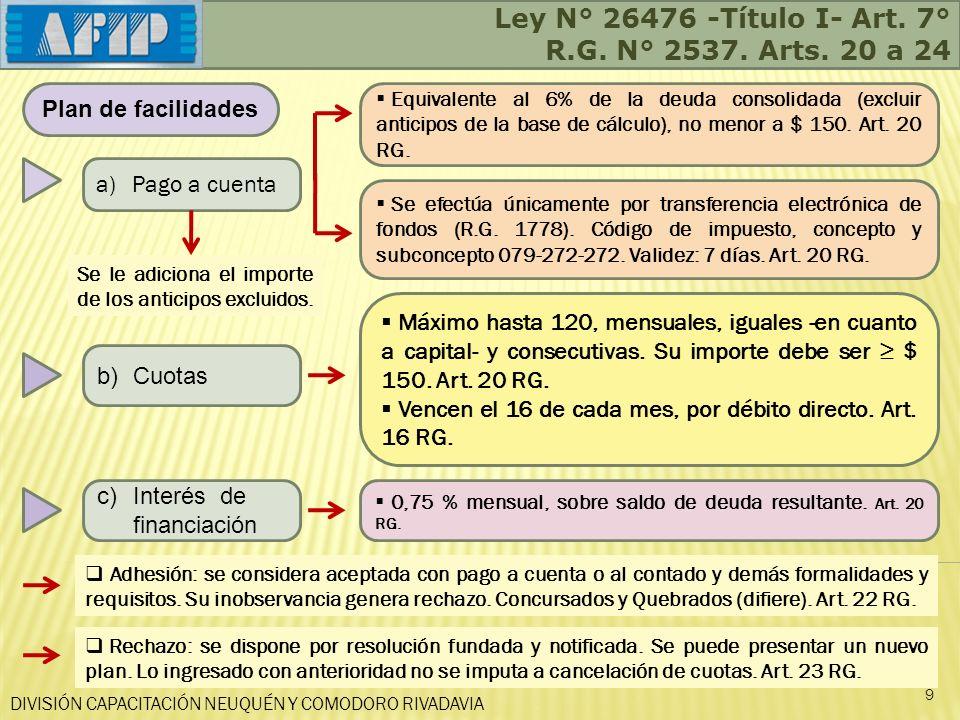 Ley N° 26476 -Título I- Art. 7° R.G. N° 2537. Arts. 20 a 24