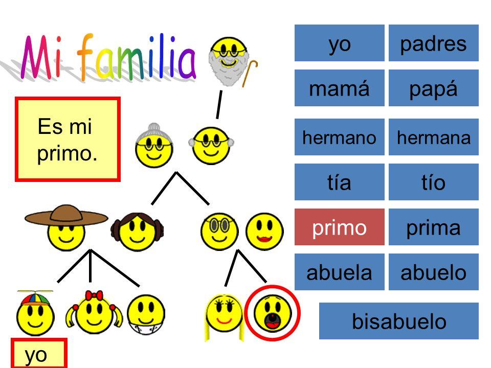 Mi familia yo padres mamá papá Es mi primo. tía tío primo prima abuela