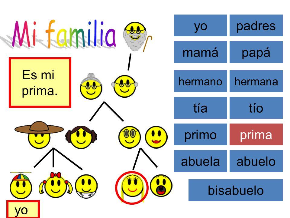 Mi familia yo padres mamá papá Es mi prima. tía tío primo prima abuela