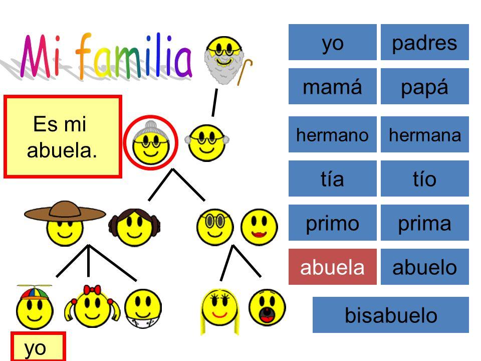 Mi familia yo padres mamá papá Es mi abuela. tía tío primo prima