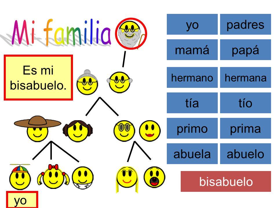 Mi familia yo padres mamá papá Es mi bisabuelo. tía tío primo prima