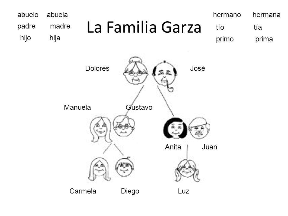 La Familia Garza abuelo abuela hermano hermana padre madre tío tía