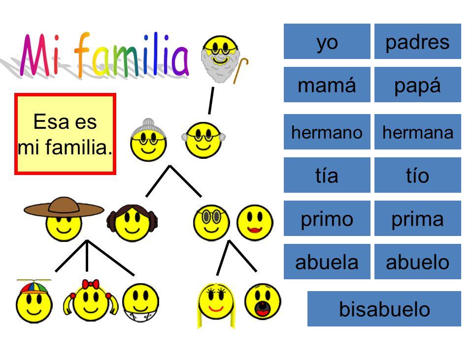Mi familia yo padres mamá papá Esa es mi familia. tía tío primo prima