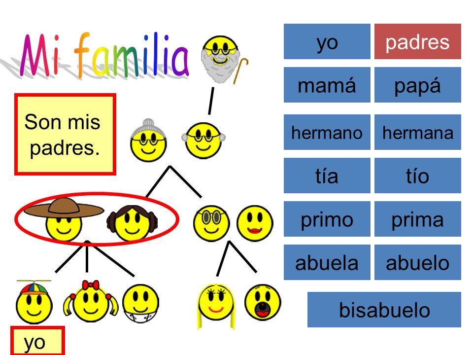 Mi familia yo padres mamá papá Son mis padres. tía tío primo prima