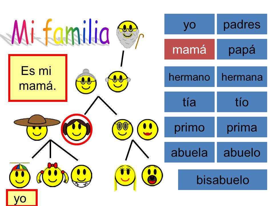 Mi familia yo padres mamá papá Es mi mamá. tía tío primo prima abuela
