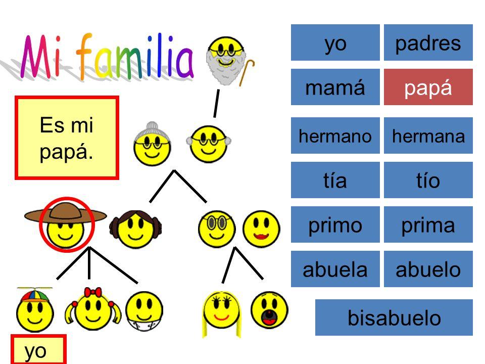 Mi familia yo padres mamá papá Es mi papá. tía tío primo prima abuela