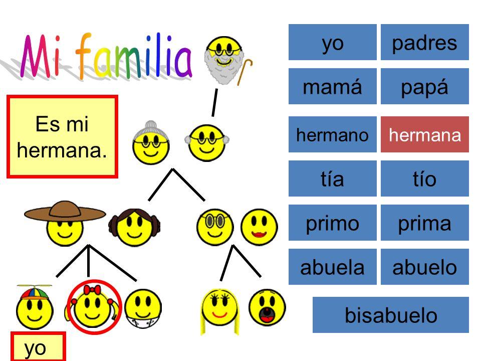 Mi familia yo padres mamá papá Es mi hermana. tía tío primo prima