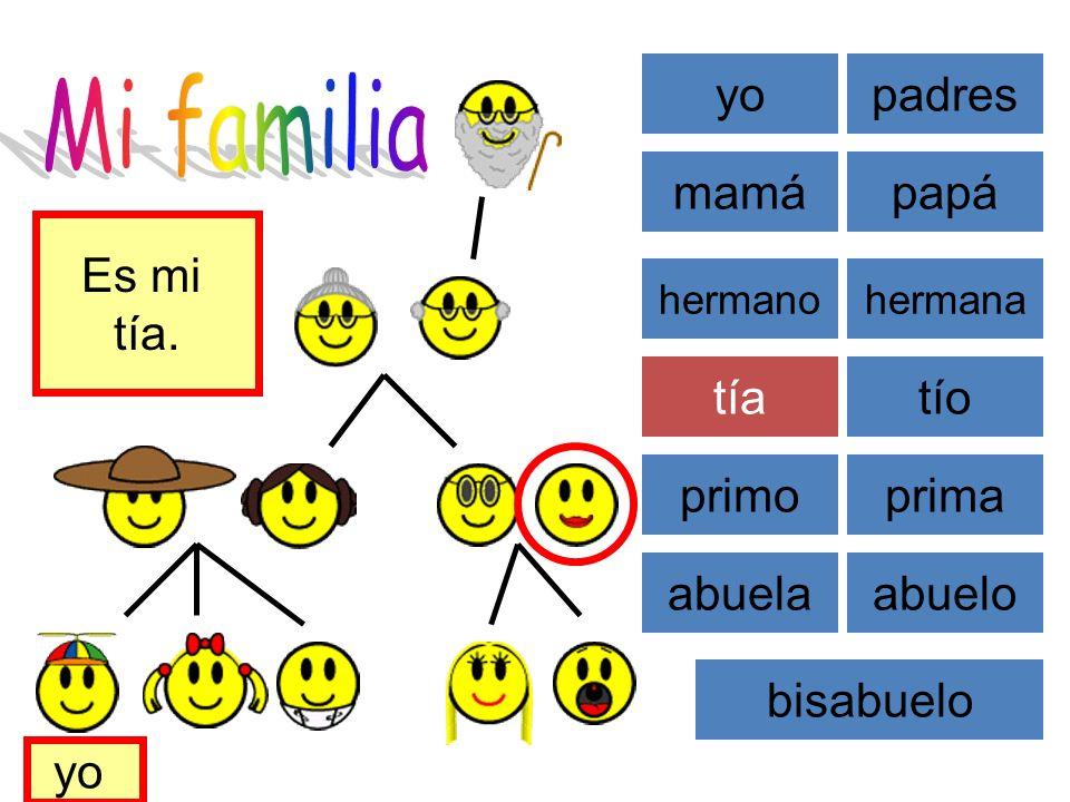 Mi familia yo padres mamá papá Es mi tía. tía tío primo prima abuela