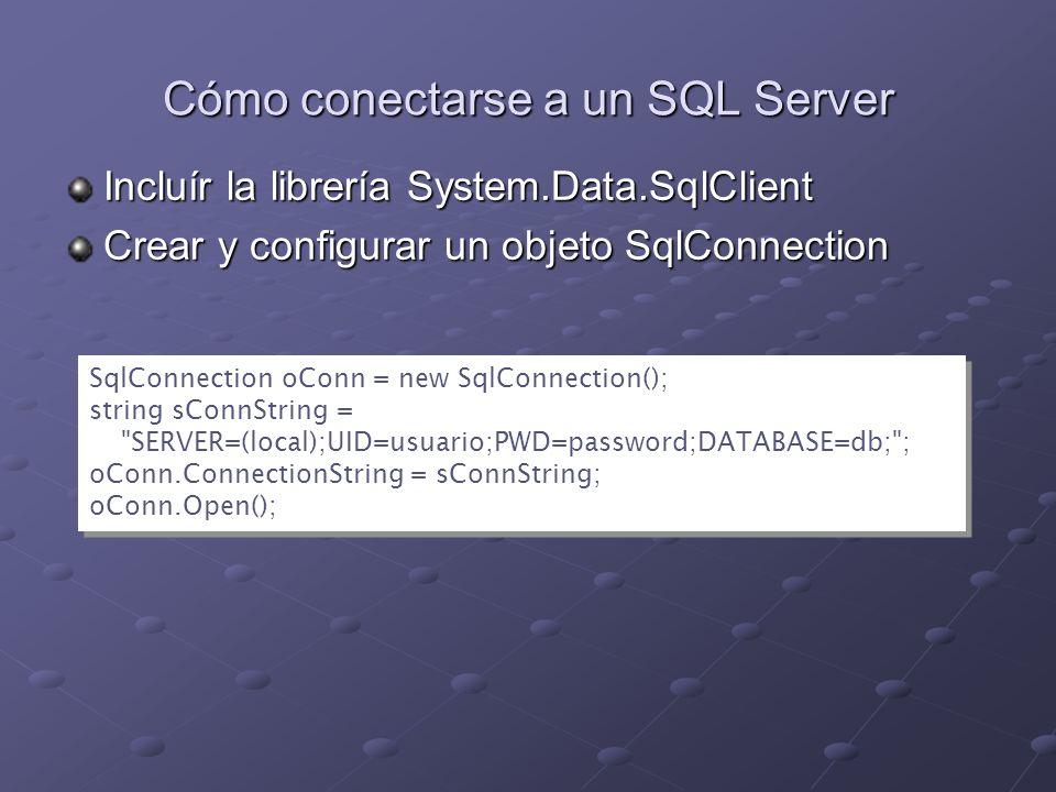 Cómo conectarse a un SQL Server
