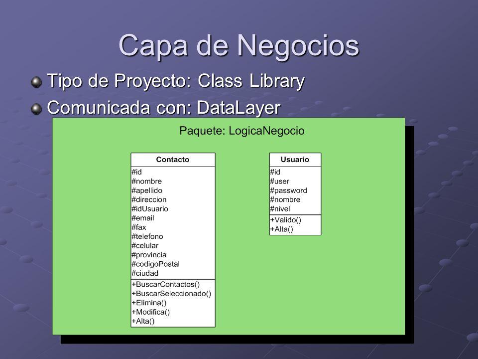 Capa de Negocios Tipo de Proyecto: Class Library
