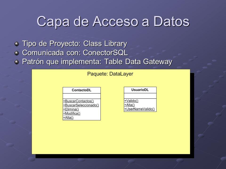 Capa de Acceso a Datos Tipo de Proyecto: Class Library