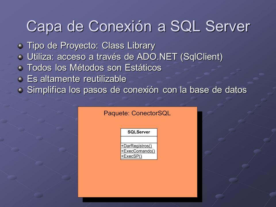 Capa de Conexión a SQL Server