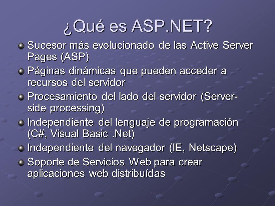 ¿Qué es ASP.NET Sucesor más evolucionado de las Active Server Pages (ASP) Páginas dinámicas que pueden acceder a recursos del servidor.