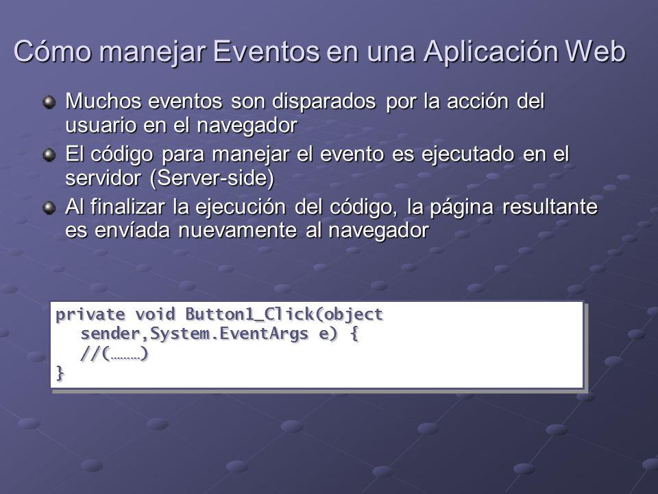 Cómo manejar Eventos en una Aplicación Web