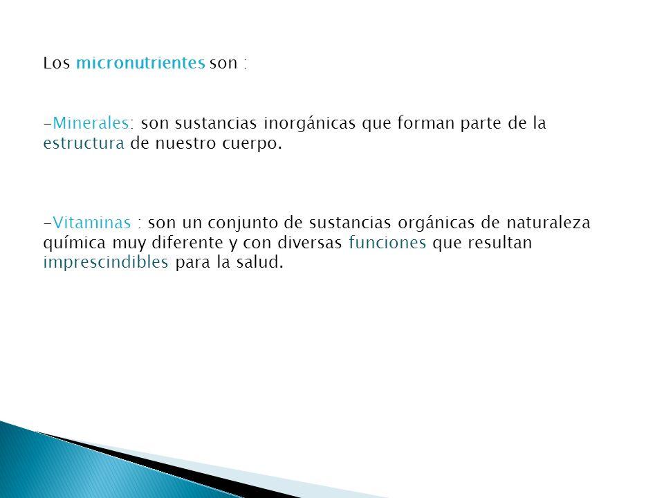 Los micronutrientes son :