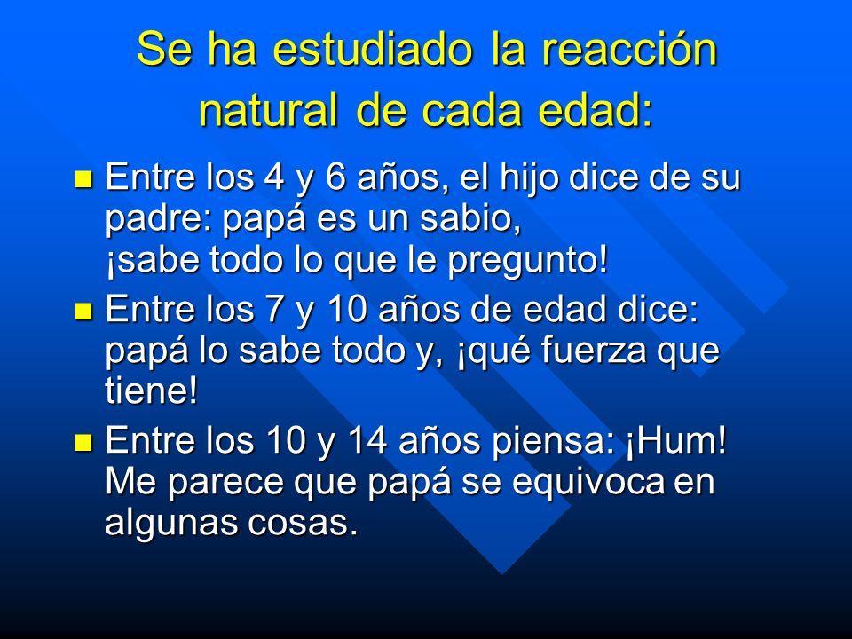 Se ha estudiado la reacción natural de cada edad: