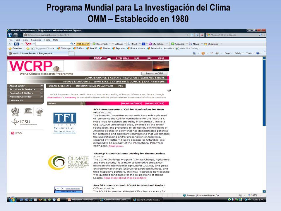 Programa Mundial para La Investigación del Clima