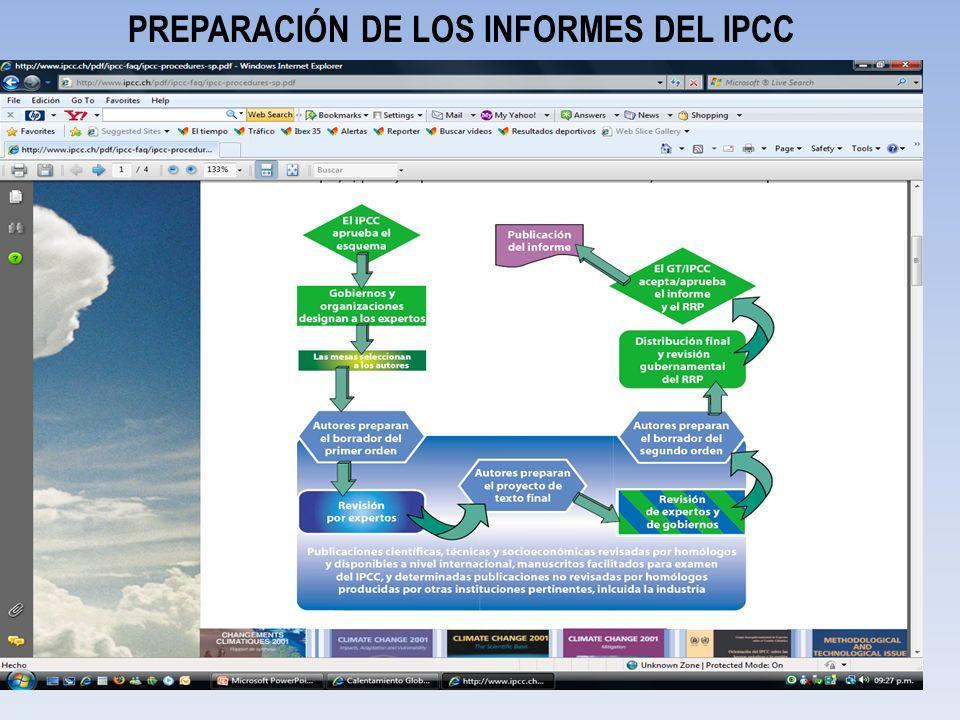 PREPARACIÓN DE LOS INFORMES DEL IPCC