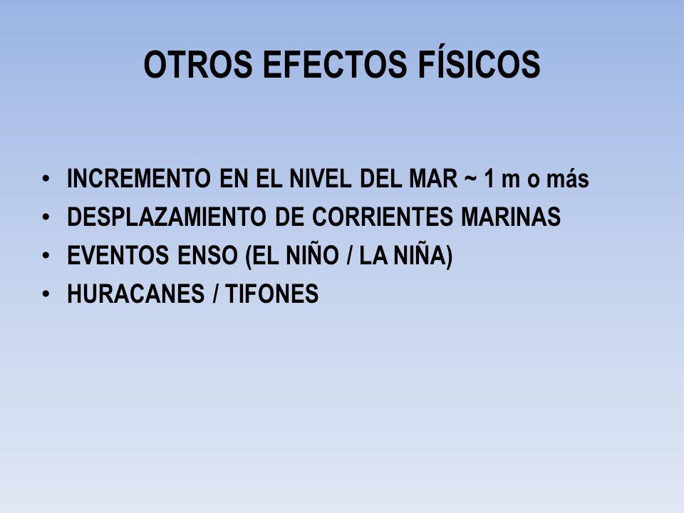 OTROS EFECTOS FÍSICOS INCREMENTO EN EL NIVEL DEL MAR ~ 1 m o más