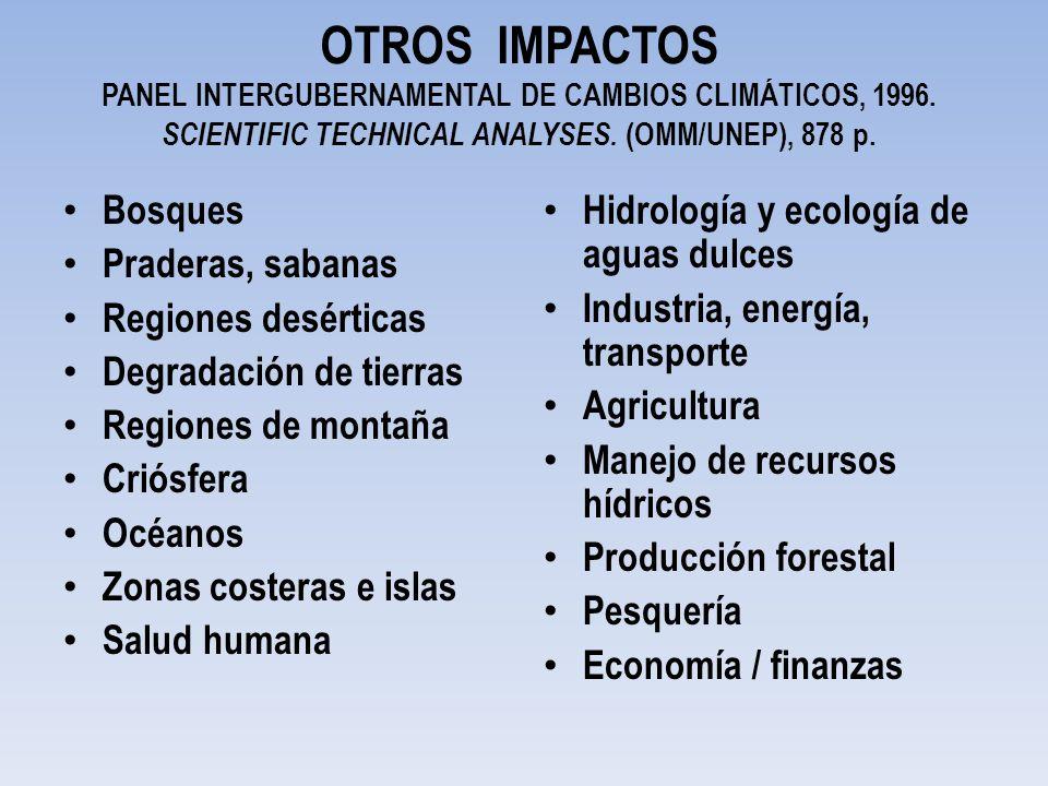OTROS IMPACTOS PANEL INTERGUBERNAMENTAL DE CAMBIOS CLIMÁTICOS, 1996
