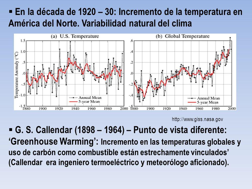 En la década de 1920 – 30: Incremento de la temperatura en América del Norte. Variabilidad natural del clima