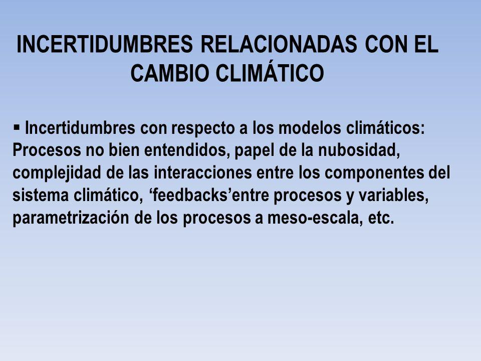 INCERTIDUMBRES RELACIONADAS CON EL CAMBIO CLIMÁTICO