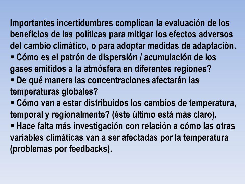 Importantes incertidumbres complican la evaluación de los beneficios de las políticas para mitigar los efectos adversos del cambio climático, o para adoptar medidas de adaptación.