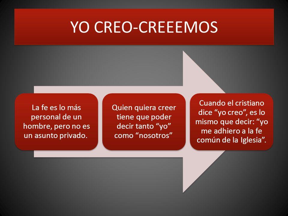 YO CREO-CREEEMOS La fe es lo más personal de un hombre, pero no es un asunto privado.