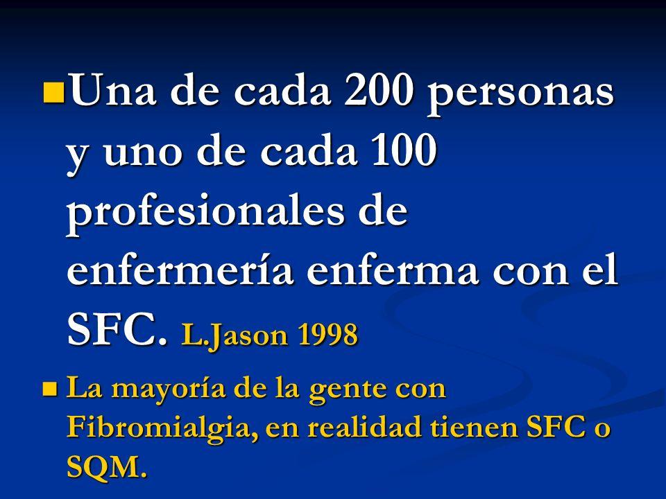 Una de cada 200 personas y uno de cada 100 profesionales de enfermería enferma con el SFC. L.Jason 1998
