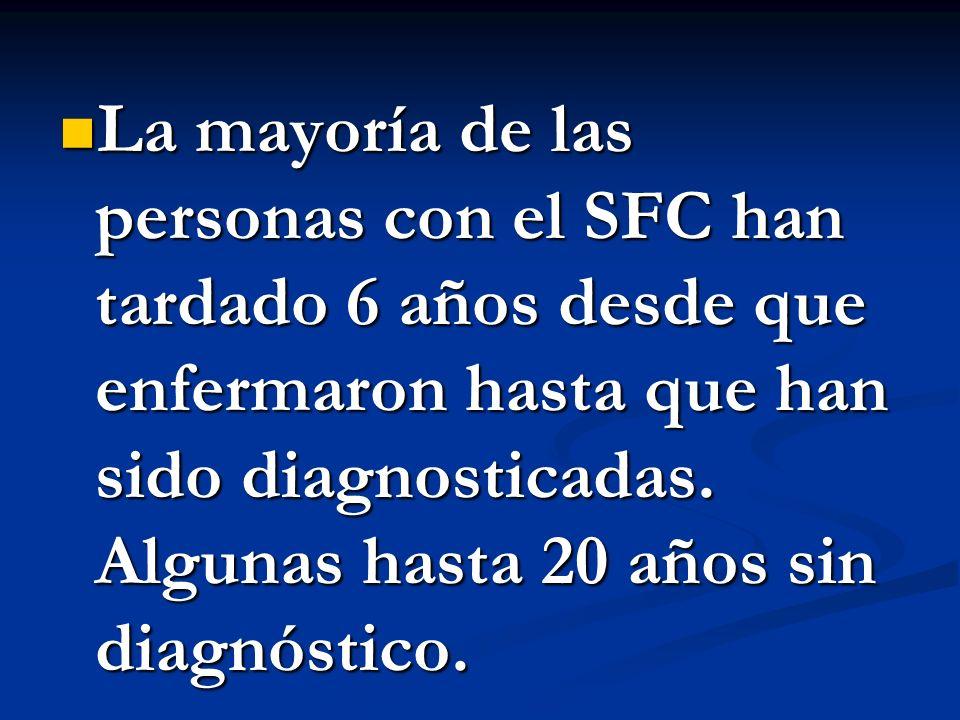 La mayoría de las personas con el SFC han tardado 6 años desde que enfermaron hasta que han sido diagnosticadas.