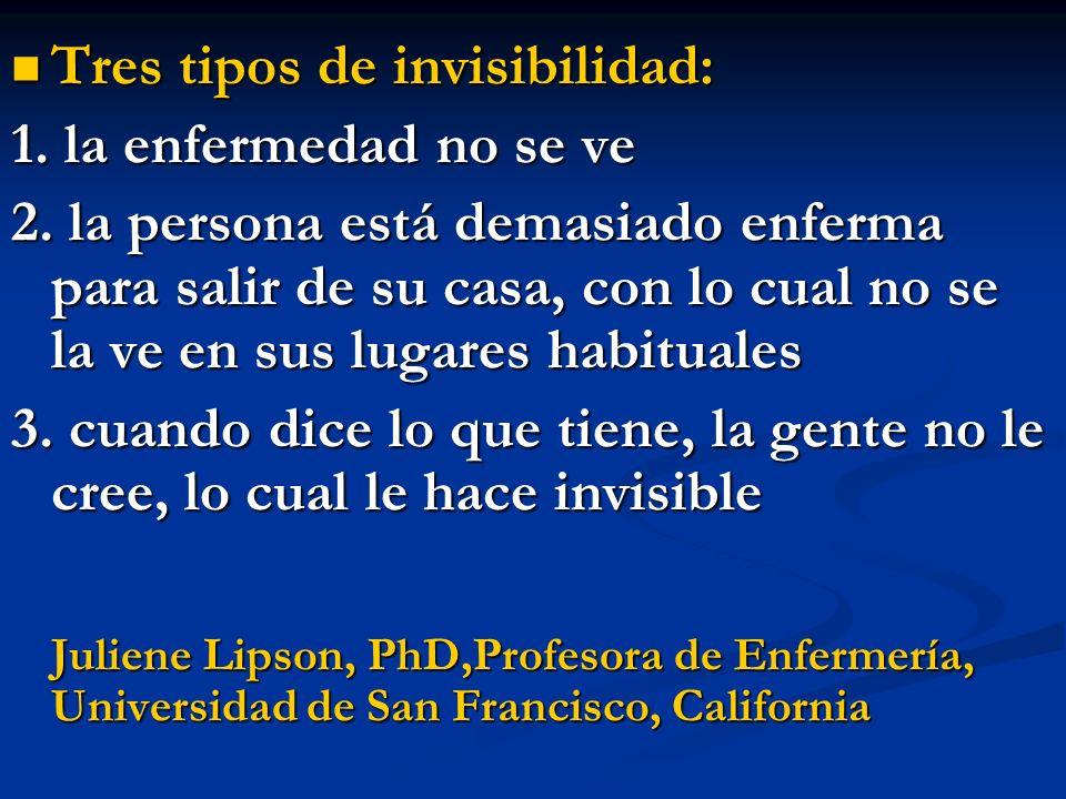 Tres tipos de invisibilidad: 1. la enfermedad no se ve