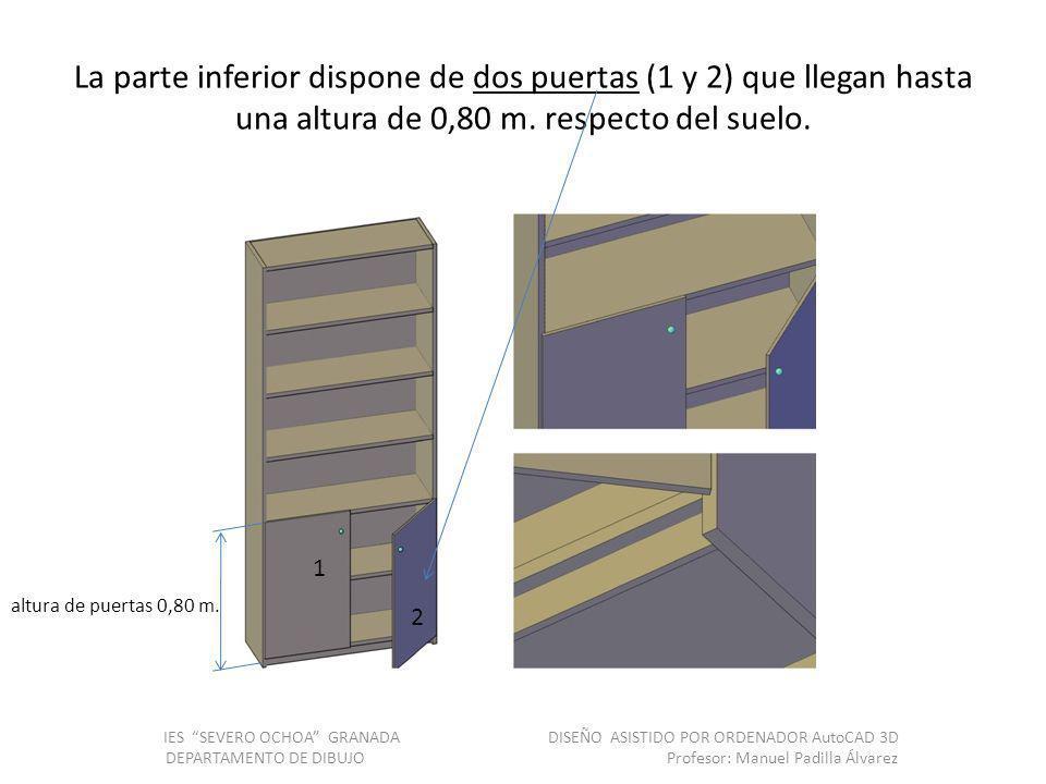 La parte inferior dispone de dos puertas (1 y 2) que llegan hasta una altura de 0,80 m. respecto del suelo.