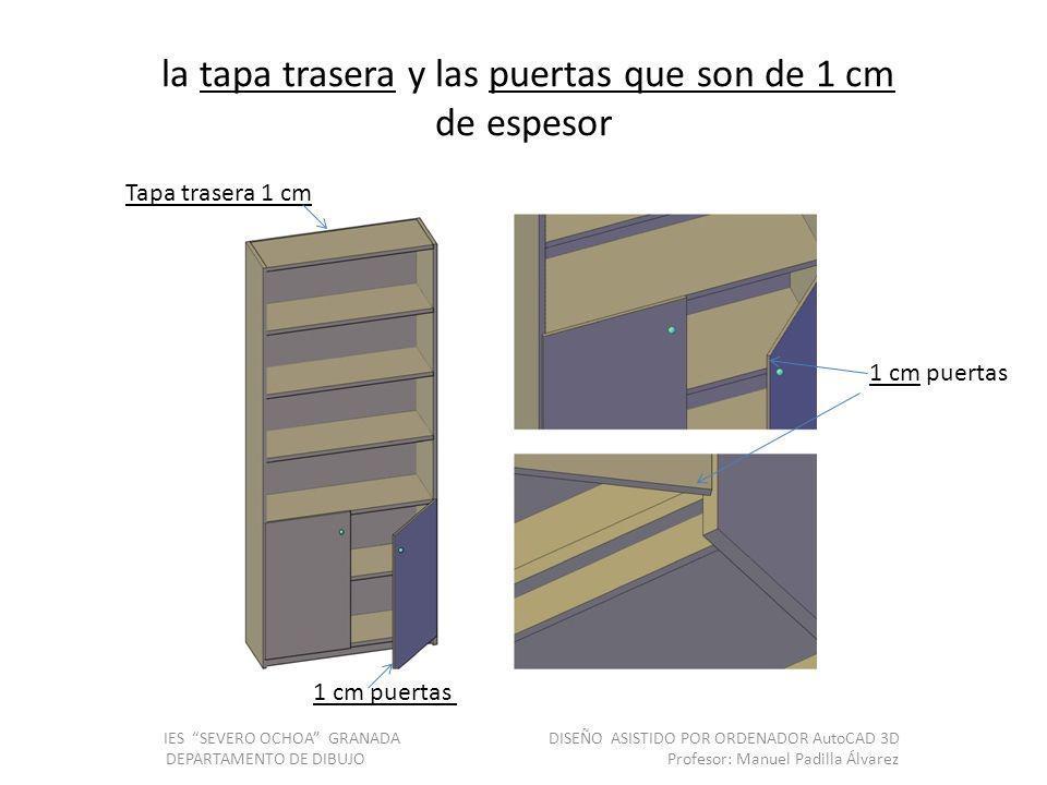 la tapa trasera y las puertas que son de 1 cm de espesor