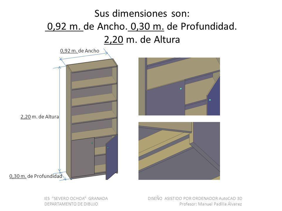 Sus dimensiones son: 0,92 m. de Ancho. 0,30 m. de Profundidad. 2,20 m