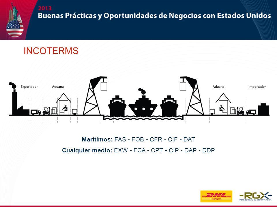 INCOTERMS Marítimos: FAS - FOB - CFR - CIF - DAT