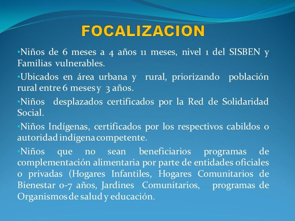focalizacion Niños de 6 meses a 4 años 11 meses, nivel 1 del SISBEN y Familias vulnerables.