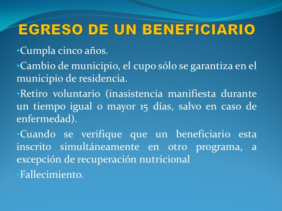 EGRESO DE UN BENEFICIARIO
