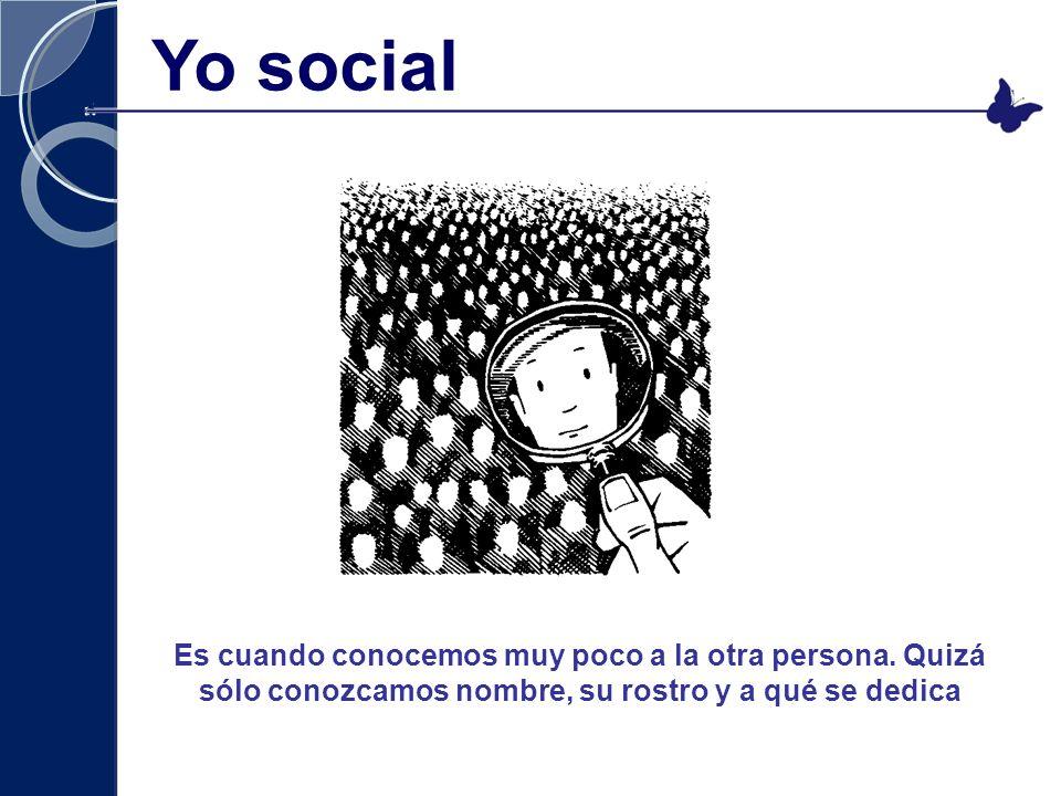 Yo social Es cuando conocemos muy poco a la otra persona.