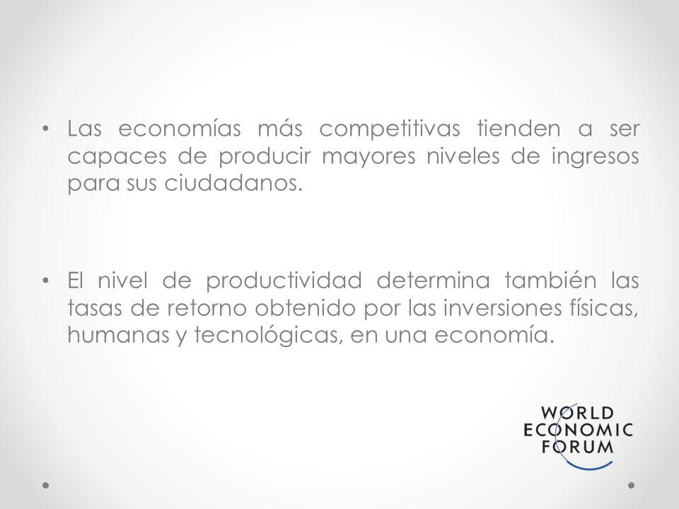Las economías más competitivas tienden a ser capaces de producir mayores niveles de ingresos para sus ciudadanos.